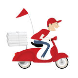 Bicicleta engraçada do motor da equitação do menino de entrega da pizza Fotografia de Stock