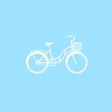 Bicicleta fêmea com uma cesta ilustração do vetor