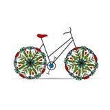 Bicicleta floral para su diseño Fotografía de archivo