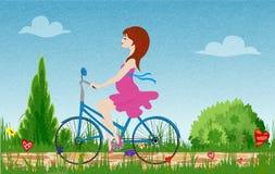 Bicicleta grávida da equitação da jovem mulher no campo de florescência da mola, no vetor com ruído e na textura ilustração stock