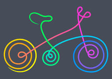Bicicleta Linha símbolo da arte Ilustração do vetor da cor Foto de Stock Royalty Free