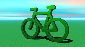 Bicicleta metálica verde en la hierba stock de ilustración