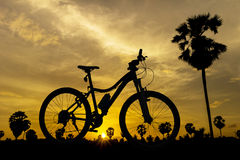 Bicicleta no por do sol Imagem de Stock Royalty Free