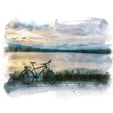 Bicicleta parqueada al lado del lago Foto de archivo libre de regalías