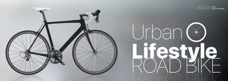A bicicleta preta do esporte do carbono e o estilo de vida urbano projetam ilustração royalty free