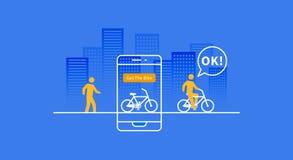 Bicicleta que aluga a ilustração do vetor do app Foto de Stock