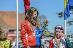 Bicicleta que compite con, ciclismo en ruta (ceremonia de premios para el más joven) Imágenes de archivo libres de regalías