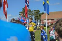 Bicicleta que compite con, ciclismo en ruta (ceremonia de premios para el más joven) Fotos de archivo libres de regalías