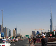 Bicicleta que compite con Dubai Imágenes de archivo libres de regalías