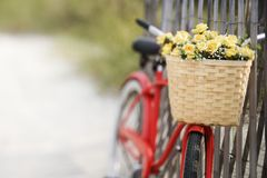 Bicicleta que inclina-se de encontro à cerca Fotografia de Stock Royalty Free