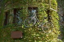 Bicicleta que pendura na parede da casa Fotos de Stock
