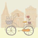 Bicicleta retra detallada con el backet stock de ilustración