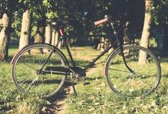 Bicicleta retro com folha de prova do vintage Foto de Stock