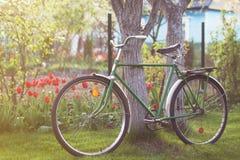 Bicicleta retro de URSS no jardim da mola Imagens de Stock