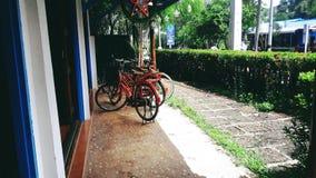Bicicleta roja Imágenes de archivo libres de regalías