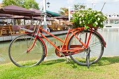 Bicicleta roja en hierba verde Imágenes de archivo libres de regalías
