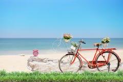 Bicicleta roja vieja con la cesta y flores con la hierba verde y el ala Fotografía de archivo