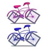 Bicicleta rosada y azul con las ruedas cuadradas aisladas en el fondo blanco Foto de archivo libre de regalías