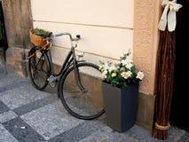 Bicicleta vieja con la cesta de mimbre Foto de archivo libre de regalías