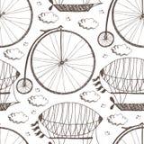 Bicicleta y dirigibles de la rueda grande stock de ilustración