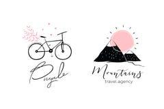 Bicicleta y montañas Logo Design stock de ilustración