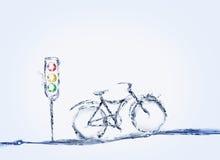 Bicicleta y semáforo imagenes de archivo