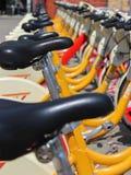 Bicicletas amarillas Fotografía de archivo libre de regalías