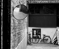 Bicicletas. Bikes stored in a private garaje royalty free stock image