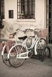 Bicicletas brancas da cidade com cesta Imagens de Stock Royalty Free