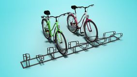 Bicicletas con la porción de la bicicleta de la parada local 3D rendir en fondo azul con la sombra imágenes de archivo libres de regalías