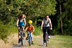 Bicicletas da equitação da família para o esporte fotos de stock