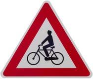 Bicicletas de advertência do sinal isoladas no branco Foto de Stock Royalty Free