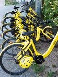 Bicicletas de alquiler a corto plazo amarillas de la parte Fotos de archivo libres de regalías