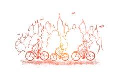 Bicicletas de montada através do parque, gastando o fim de semana com crianças, escolhas saudáveis do estilo de vida, equilíbrio  ilustração do vetor