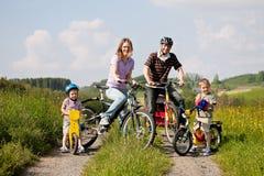 Bicicletas del montar a caballo de la familia en verano