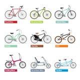 Bicicletas del OS del diferente tipo, siluetas del color fijadas Foto de archivo
