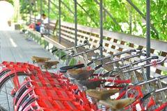 Bicicletas estacionadas no lugar público do passeio Foto de Stock Royalty Free