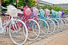 Bicicletas indonesias para el alquiler en Jakarta, Indonesia. imágenes de archivo libres de regalías