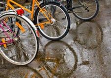 Bicicletas na chuva Fotografia de Stock