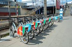 Bicicletas para el alquiler Fotografía de archivo libre de regalías