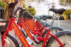 Bicicletas para o aluguer em Alexandria, VA, em um dia da queda Imagens de Stock
