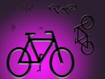 Bicicletas que rodam no backround cor-de-rosa Imagens de Stock Royalty Free
