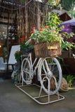Bicicletta bianca con il fiore Fotografia Stock Libera da Diritti