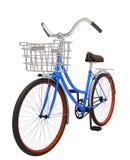 bicicletta blu classica dell'illustrazione 3d con il canestro Immagini Stock Libere da Diritti