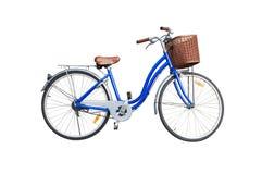 Bicicletta blu delle signore su fondo bianco Fotografia Stock Libera da Diritti