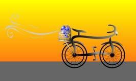 Bicicletta con il ventilatore nell'illustrazione dell'elemento portante Fotografia Stock Libera da Diritti