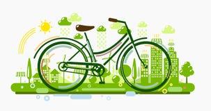Bicicletta con la città verde Fotografia Stock Libera da Diritti