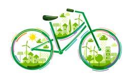 Bicicletta con la città verde Immagine Stock Libera da Diritti