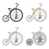 Bicicletta d'annata La prima bicicletta Ruota enorme e piccola Singola icona della bicicletta differente nel simbolo di vettore d illustrazione vettoriale