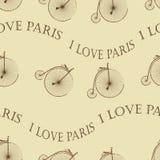 Bicicletta d'annata Parigi senza cuciture Fotografia Stock Libera da Diritti